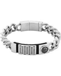 Diesel Silver Bracelet - Lyst