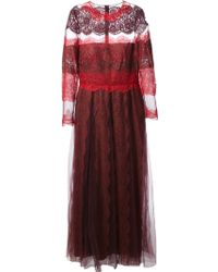 Valentino Lace Panel Maxi Dress - Lyst