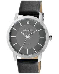 Kenneth Cole | Diamond Marker Leather Strap Watch | Lyst