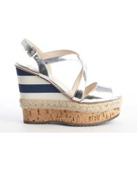 Prada Silver Patent Leather Strappy Multi-color Striped Accent Wedge Sandals - Lyst