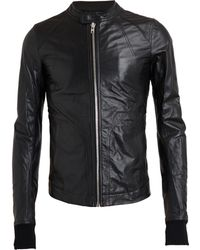 Rick Owens Intarsia Lamb Leather Jacket - Lyst