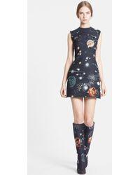 Valentino Cosmos Print Wool Blend Crepe Shift Dress - Lyst