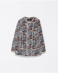 Zara Patterned Coat with Piping - Lyst