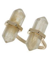 Topshop Double Semi Precious Stone Ring gold - Lyst