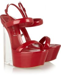 Casadei Patent Leather Wedge Sandals - Lyst