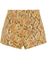 Topshop Unique - Snake-Print Coated Suede Shorts - Lyst