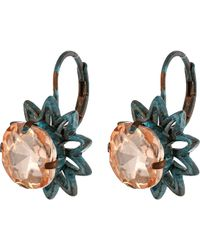 Betsey Johnson Patina Pink Crystal Drop Earrings - Lyst