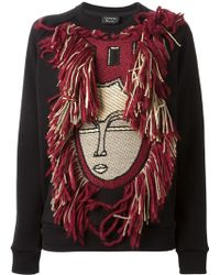 Lanvin Fringed Face Sweatshirt - Lyst