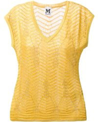 M Missoni Textured Crochet Metallic Blouse - Lyst