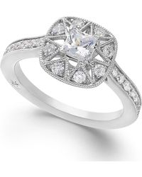Marchesa Antique Star By Certified Diamond Engagement Ring In 18K White Gold (7/8 Ct. T.W.) - Lyst