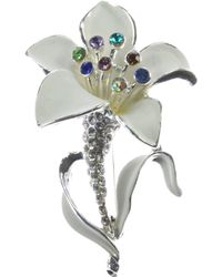 Indulgence Jewellery - White And Multi Crystal Lily Brooch - Lyst