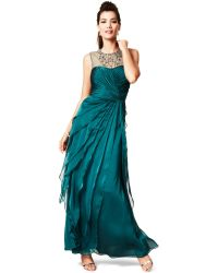 Adrianna Papell Petite Sleeveless Beaded Tiered Gown - Lyst