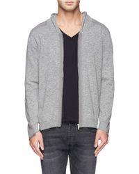 Alexander McQueen Contrast Back Wool Hood Cardigan gray - Lyst