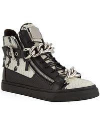 Giuseppe Zanotti Double Chain Python High Top Sneaker - Lyst
