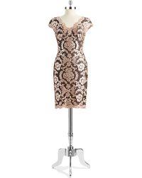 Tadashi Shoji Floral Sequin Shift Dress - Lyst