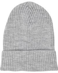 River Island Grey Rib Knit Beanie Hat - Lyst