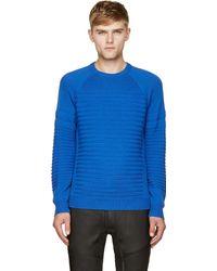 Surface To Air Blue Wool Marinire Stripe Knit Evo Sweater - Lyst