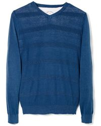 Mango Stripe Textured Sweater - Lyst