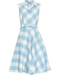 Oscar de la Renta Gingham Wool-Blend Dress - Lyst