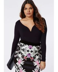 Missguided Plus Size Bardot Bodysuit Black - Lyst