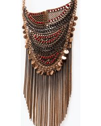Zara Mesh Necklace With Chains And Beads - Lyst