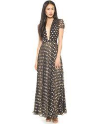 Diane Von Furstenberg Tamara Wrap Gown  Blackgold - Lyst