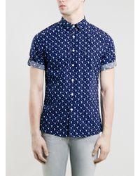 Topman Religion Blue Shirt* - Lyst