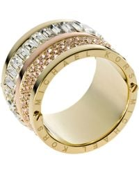 Michael Kors - Goldtone Pave And Stone Barrel Ring - Lyst
