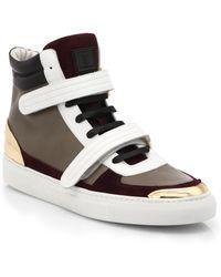 Louis Leeman Colorblocked Leather High-Top Sneakers - Lyst