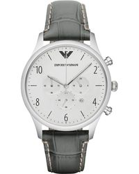 Emporio Armani Round Stainless Steel Chronograph Watch gray - Lyst