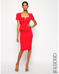 Asos Tall Pencil Dress With Layered Peplum - Lyst