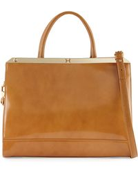 Halston Heritage Glossy Leather Satchel Bag - Lyst