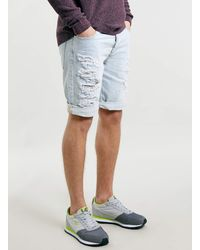 Topman Bleach Ripped Denim Shorts - Lyst