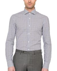 Borrelli Checked Spread Collar Dress Shirt - Lyst