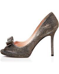 Kate Spade Platform Pumps - Felisha Metallic Open Toe - Lyst
