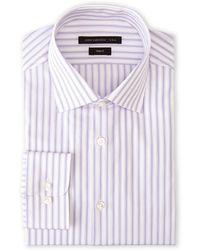 John Varvatos Lilac Stripe Trim Fit Dress Shirt - Lyst