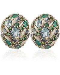 Alexis Bittar Fine | Silver Diamond Pave Button Clip-on Earrings | Lyst