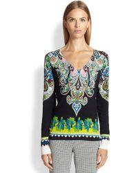 Etro Border-Print Silk Sweater - Lyst