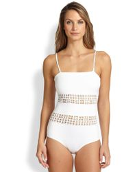 Clover Canyon One-Piece Laser Bandeau Swimsuit - Lyst