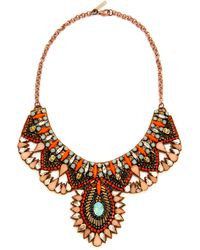 Deepa Gurnani Colorful Crystal Necklace Goldturquoise - Lyst