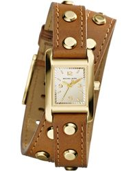 Michael Kors Womens Mini Taylor Goldtone Studded Luggage Leather Wrap Strap Watch 22x20mm - Lyst