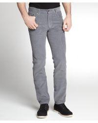 Zegna Sport Grey Cotton Corduroy Flat Front Pants - Lyst