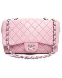 Chanel Pre-owned Pink Lambskin Jumbo Double Flap Bag - Lyst