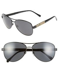 Burberry 59Mm Aviator Sunglasses black - Lyst