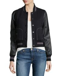 Rachel Zoe Faux-Leather-Sleeve Baseball Jacket - Lyst
