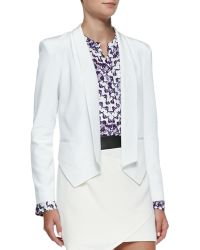 Rebecca Minkoff Becky Leatherdetail Silk Jacket - Lyst