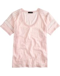 J.Crew Embroidered Linen Lace Tee - Lyst