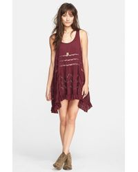 Free People Lace-Trim Tunic Dress - Lyst