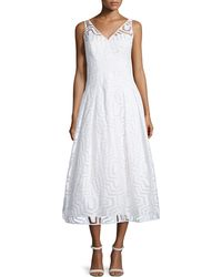 Milly Olivia Sleeveless Fil Coupe Illusion Dress - Lyst
