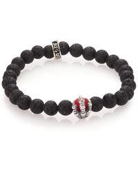 King Baby Studio Lava Rock & Coral Raven Claw Beaded Bracelet black - Lyst